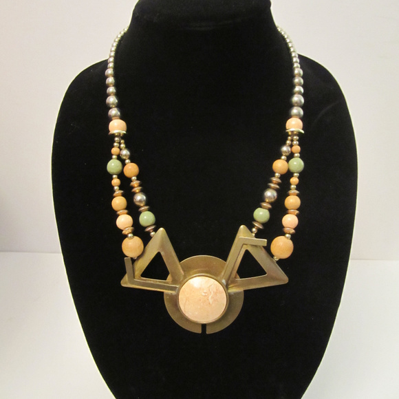 Stone Brass and Wood Necklace EUC Artisan
